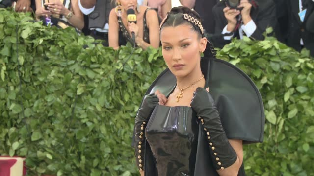 fashion the catholic imagination costume institute gala at the metropolitan museum of art on may 07 2018 in new york city - bella hadid stock videos & royalty-free footage