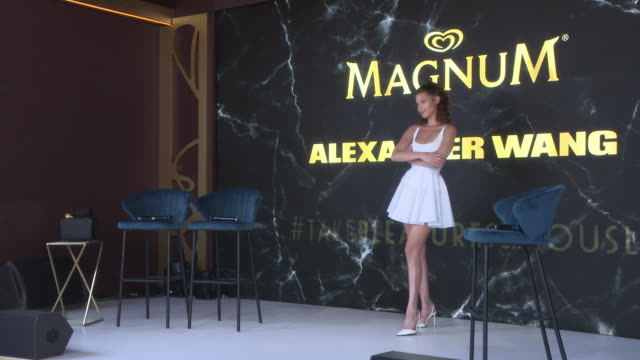 bella hadid at magnum x alexander wang launch the 71st annual cannes film festival on may 10 2018 in cannes france - bella hadid stock videos & royalty-free footage