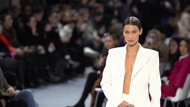 slomo bella hadid at paris fashion week haute couture spring/summer 2020 alexandre vauthier on january 21 2020 in paris france - fashion stock videos & royalty-free footage