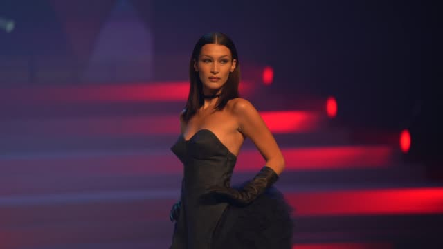 bella hadid at paris fashion week - haute couture spring/summer 2020 : jean paul gaultier on january 22, 2020 in paris, france. - fashion stock videos & royalty-free footage