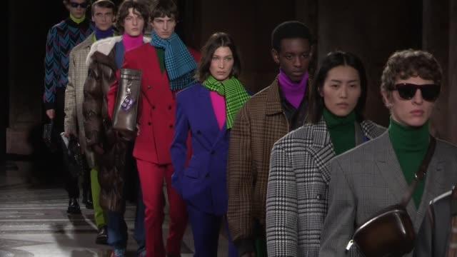 bella hadid, fellow models and designer kris van assche on the runway for the berluti menswear fall winter 2020 fashion show in paris paris, france... - paris fashion week stock videos & royalty-free footage