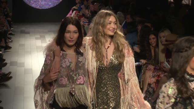 bella hadid gigi hadid taylor hill and their fellow models on the runway for the anna sui ready to wear spring summer 2018 fashion show in new york... - bella hadid stock videos & royalty-free footage