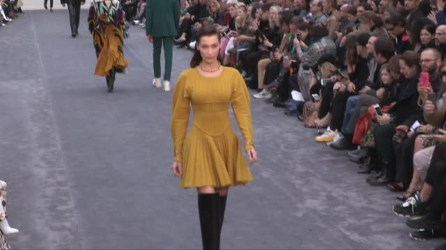 bella hadid grace elizabeth their fellow models and designer paul surridge on the runway for the roberto cavalli ready to wear fall winter 2019... - roberto cavalli stock videos and b-roll footage