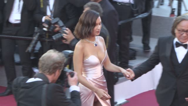 bella hadid mohamed hadid at 'ismael's ghosts' opening carpet at palais des festivals on may 17 2017 in cannes france - bella hadid stock videos & royalty-free footage