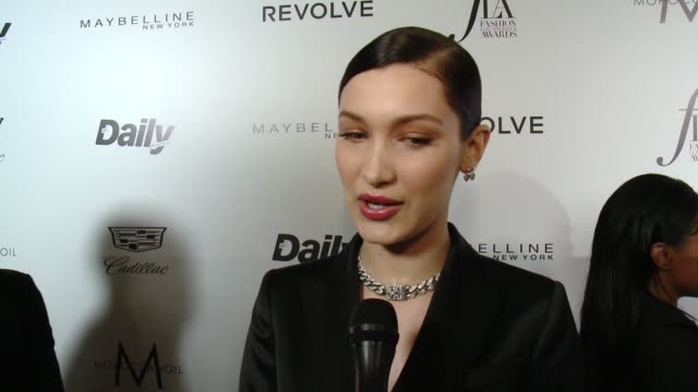 interview bella hadid on how nervous and excited she is about being honored on how she just remembered just being here last year with no makeup on to... - interview stock videos & royalty-free footage
