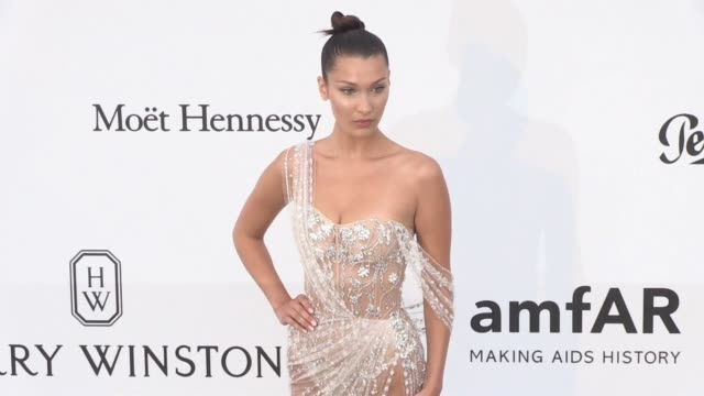 bella hadid on the red carpet at the amfar gala during the cannes film festival 2017 thursday 25 may 2017 cannes france - bella hadid stock videos & royalty-free footage