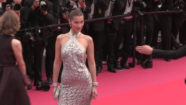 bella hadid on the red carpet for the premiere of blackkklansman at the cannes film festival 2018 monday 14 may 2018 cannes france - bella hadid stock videos & royalty-free footage