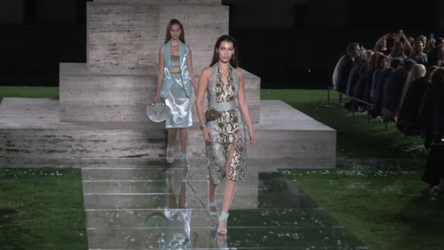 bella hadid, taylor hill, grace elizabeth and their fellow models walk the runway for the salvatore ferragamo ready to wear spring summer 2018... - salvatore ferragamo stock videos & royalty-free footage