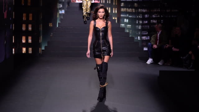 bella hadid walks the runway at moschino x hm runway at pier 36 on october 24 2018 in new york city - bella hadid stock videos & royalty-free footage
