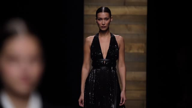 bella hadid walks the runway at the michael kors fashion show at new york stock exchange on february 12, 2020 in new york city. - fashion show stock videos & royalty-free footage