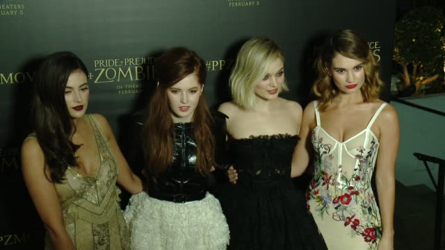 Bella Heathcote Lily James Millie Brady and Ellie Bamber at the 'Pride And Prejudice And Zombies' Los Angeles Premiere at Harmony Gold Theater on...