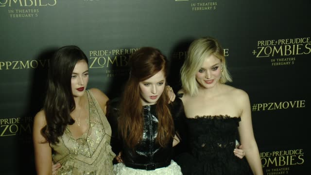 Bella Heathcote Millie Brady and Ellie Bamber at the 'Pride And Prejudice And Zombies' Los Angeles Premiere at Harmony Gold Theater on January 21...