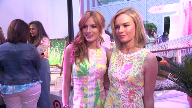 bella thorne and kate bosworth at the lilly pulitzer for target event at bryant park grill on april 15 2015 in new york city - kate bosworth stock-videos und b-roll-filmmaterial