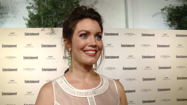 interview bellamy young on 'scandal' on favorite television moments from this past season and on what entertainment weekly means to them at... - entertainment weekly stock videos and b-roll footage
