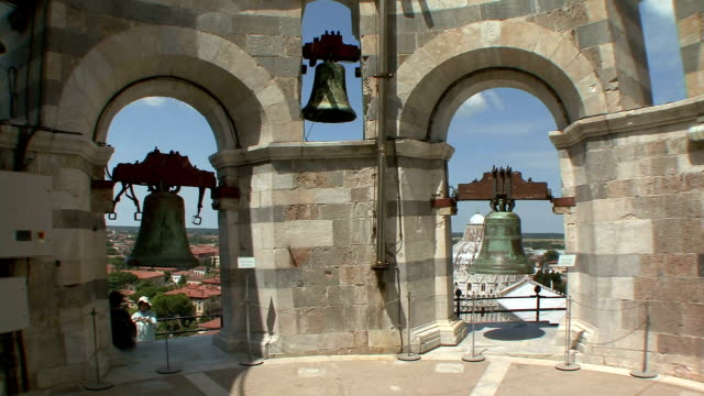 CU PAN Bells on top of Leaning Tower / Pisa, Tuscany, Italy