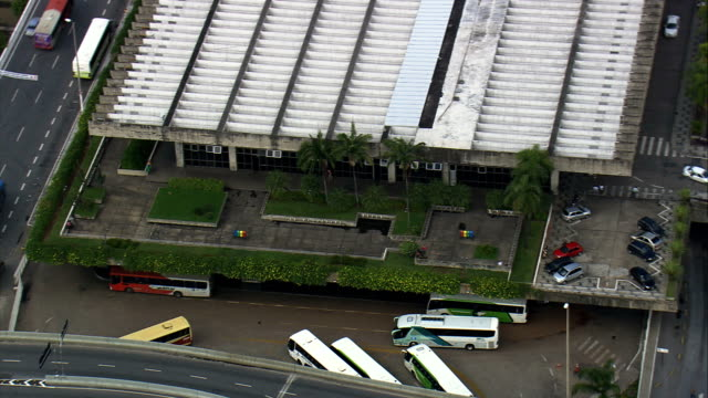 belo horizonte bus station  - aerial view - minas gerais, belo horizonte, brazil - belo horizonte stock videos and b-roll footage