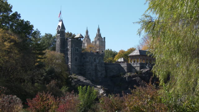 belvedere castle / san remo hotel - central park nyc in autumn - remo stock videos and b-roll footage