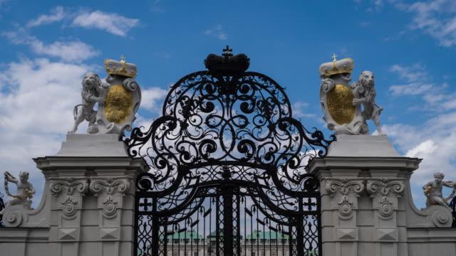 belvedere palace entrance - belvedere palace vienna stock videos & royalty-free footage