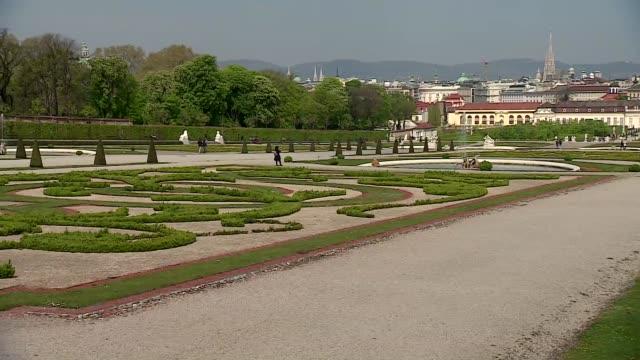 belvedere palace garden in vienna - belvedere palace vienna stock videos & royalty-free footage