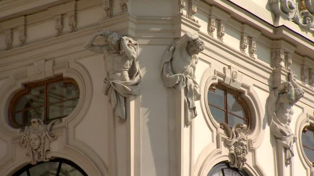 belvedere palace in vienna - decorative elements - belvedere palace vienna stock videos & royalty-free footage