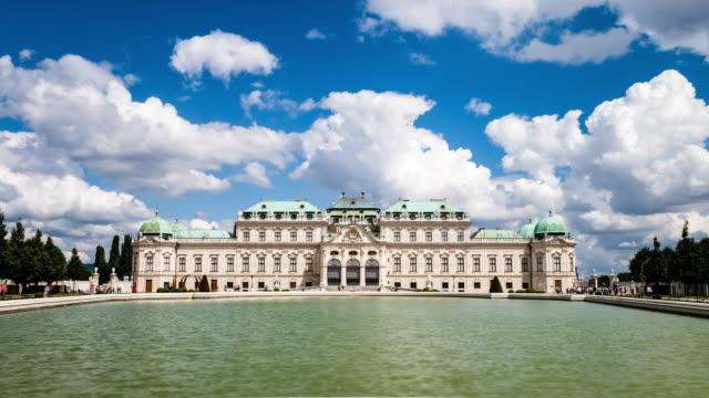 belvedere palace vienna - time lapse (4k resolution) - belvedere palace vienna stock videos & royalty-free footage
