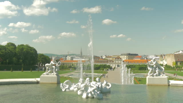 Belvedere Palace.Fountains and clouds.