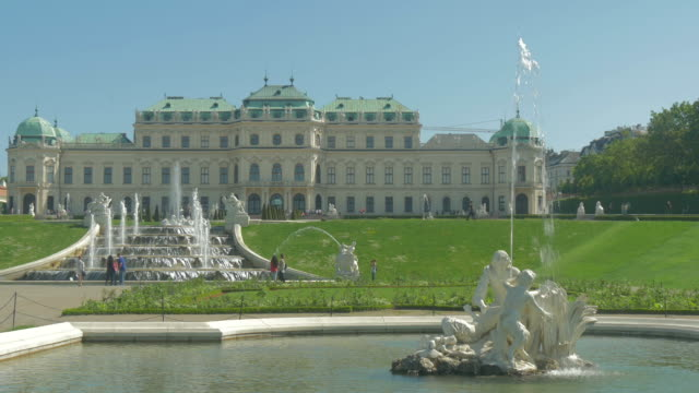 belvedere palace.fountains . - belvedere palace vienna stock videos & royalty-free footage