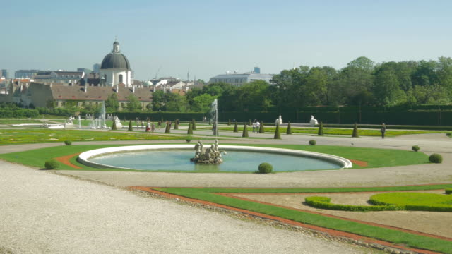 belvedere palace.gardens pan l to r. - belvedere palace vienna stock videos & royalty-free footage