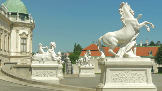 Belvedere Palace.Medium shot.Zoom In with Statues