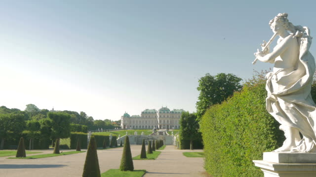 belvedere park with statuepan l to r. - belvedere palace vienna stock videos & royalty-free footage
