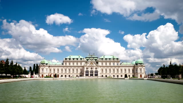 belvedere vienna time lapse - vienna stock videos and b-roll footage