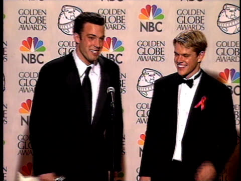ben affleck and matt damon talk about their win for good will hunting - matt damon stock videos and b-roll footage