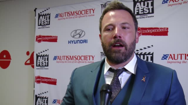interview ben affleck on being honored at the first recipient of the autfest awareness award at their first film festival on his extensive research... - ben affleck stock videos & royalty-free footage