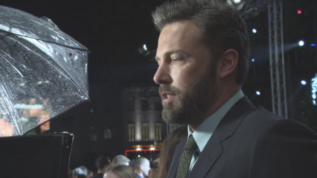 interview ben affleck on being in london and the us election at 'the accountant' european premiere on october 17 2016 in london england - ben affleck stock videos and b-roll footage