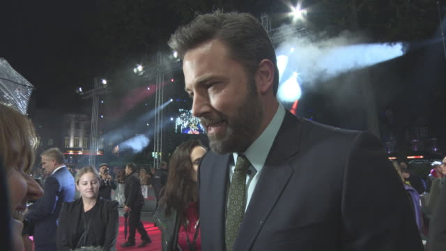 interview ben affleck on making matt damon jealous and the challenges of playing an autistic character at 'the accountant' european premiere on... - matt damon stock videos and b-roll footage