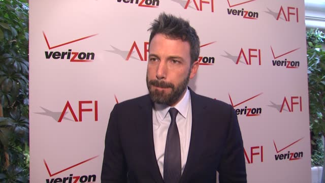 interview ben affleck on receiving an award from afi and on working on 'argo' at the 13th annual afi awards luncheon in beverly hills ca on 1/11/13 - ben affleck stock videos and b-roll footage