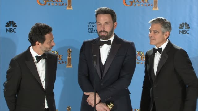 speech ben affleck on the cast of argo at 70th annual golden globe awards press room on 1/13/13 in los angeles ca - ben affleck stock videos and b-roll footage