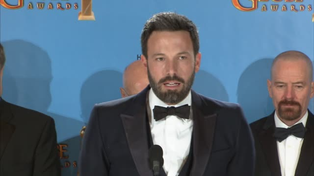 speech ben affleck on the cast of argo at 70th annual golden globe awards press room on 1/13/13 in los angeles ca - ben affleck stock videos & royalty-free footage