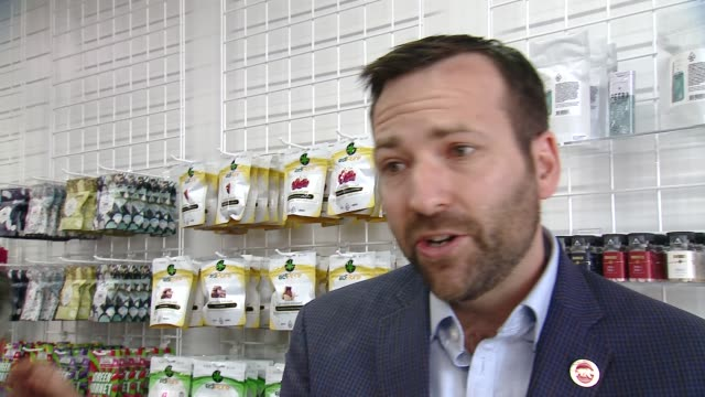 interview ben allen at medmen celebrates the opening of abbot kinney store with a ribbon cutting ceremony featuring congressman ted lieu and senator... - cut video transition stock videos & royalty-free footage