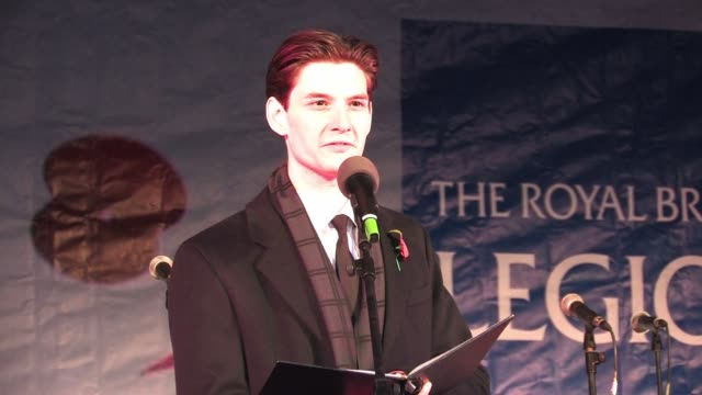 ben barnes reads a listening post by robert ernest vernede for the public gathered in trafalgar square on armistice day silence in the square ben... - armistice stock videos and b-roll footage