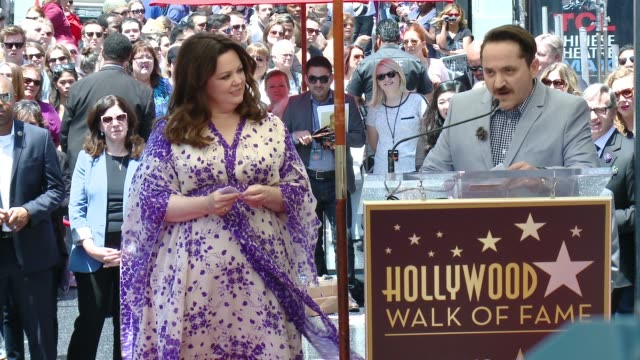 ben falcone at melissa mccarthy honored with star on the hollywood walk of fame on may 19, 2015 in hollywood, california. - ben falcone stock videos & royalty-free footage
