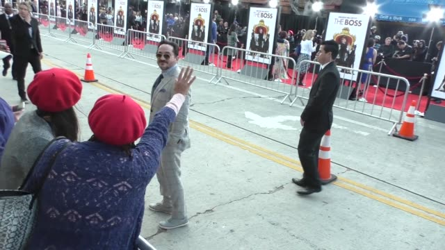 ben falcone greets fans at the boss premiere at regency village theatre in westwood celebrity sightings on march 01 2016 in los angeles california - westwood village stock-videos und b-roll-filmmaterial
