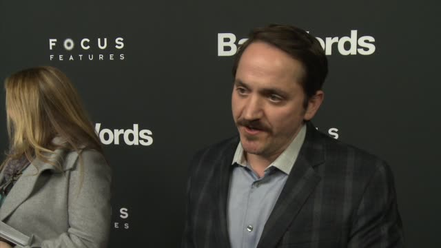 """ben falcone on why audiences are loving this film, on his favorite words that he can't tell us, on working with jason bateman at """"bad words"""" los... - ben falcone stock videos & royalty-free footage"""