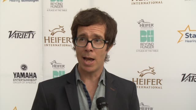 ben folds on performing at the event heifer international and what makes it unique if he's working on new music in the studio heifer international... - montage beverly hills video stock e b–roll