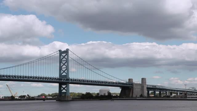 LA Ben Franklin Bridge under partly cloudy sky / Philadelphia, Pennsylvania, United States