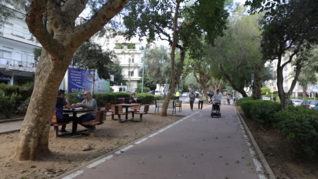 ben gurion steet - tel aviv - pedestrian walkway stock videos & royalty-free footage