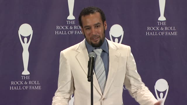 ben harper speech at the 23rd annual rock and roll hall of fame induction ceremony press room at the waldorf astoria in new york new york on march 10... - hall of fame stock videos and b-roll footage