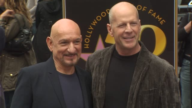 ben kingsley and bruce willis at the ben kingsley honored with a star on the hollywood walk of fame at hollywood ca - ben kingsley stock videos & royalty-free footage
