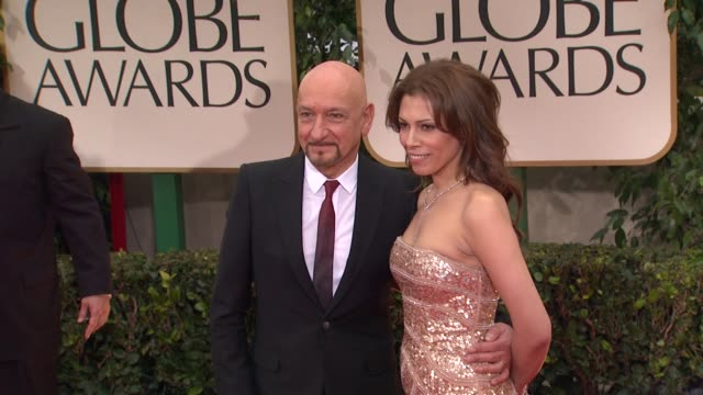 ben kingsley and daniela lavender at 69th annual golden globe awards arrivals on january 15 2012 in beverly hills california - ben kingsley stock videos and b-roll footage