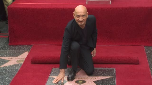 ben kingsley at the ben kingsley honored with a star on the hollywood walk of fame at hollywood ca - ben kingsley stock videos & royalty-free footage